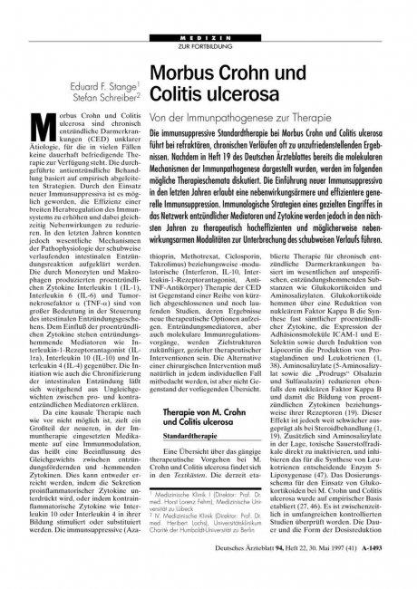 Morbus Crohn und Colitis ulcerosa: Von der Immunpathogenese zur Therapie