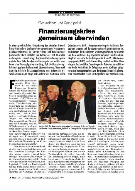 Gesundheits- und Sozialpolitik: Finanzierungskrise gemeinsam überwinden