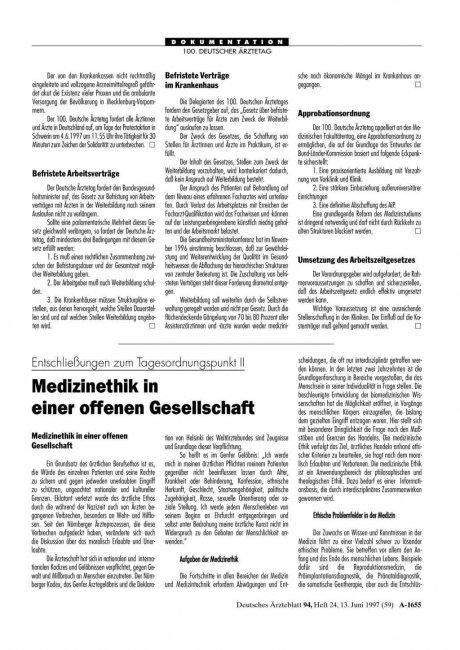 Entschließungen zum Tagesordnungspunkt II: Medizinethik in einer offenen Gesellschaft