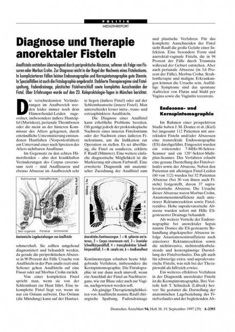 Diagnose und Therapie anorektaler Fisteln