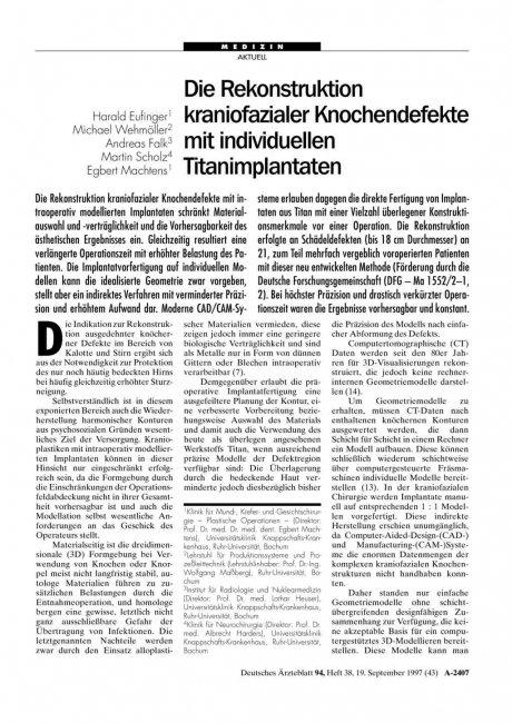 Die Rekonstruktion kraniofazialer Knochendefekte mit individuellen Titanimplantaten