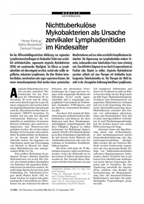Nichttuberkulöse Mykobakterien als Ursache zervikaler Lymphadenitiden im Kindesalter