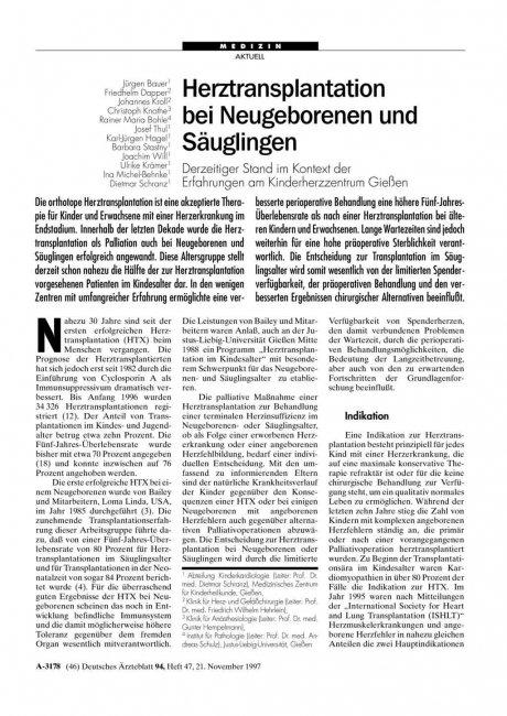 Herztransplantation bei Neugeborenen und Säuglingen: Derzeitiger Stand im Kontext der Erfahrungen am Kinderherzzentrum Gießen
