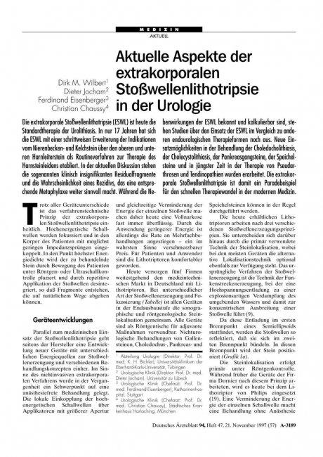 Aktuelle Aspekte der extrakorporalen Stoßwellenlithotripsie in der Urologie