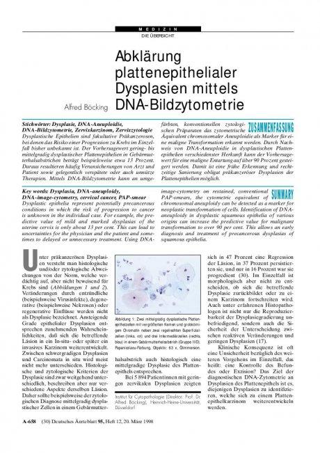 Abklärung plattenepithelialer Dysplasien mittels DNA-Bildzytometrie