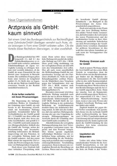 Neue Organisationsformen – Arztpraxis als GmbH: kaum sinnvoll