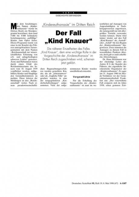 """""""Kindereuthanasie"""" im Dritten Reich: Der Fall """"Kind Knauer"""""""