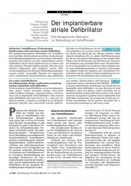 Der implantierbare atriale Defibrillator: Eine therapeutische Alternative zur Behandlung von Vorhofflimmern