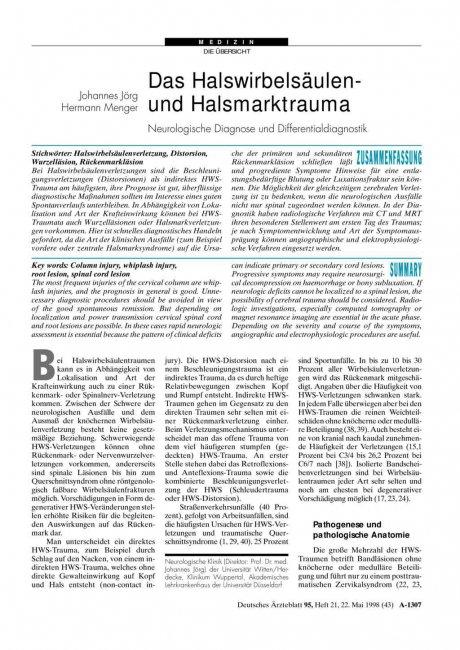 Das Halswirbelsäulen- und Halsmarktrauma: Neurologische Diagnose und Differentialdiagnostik