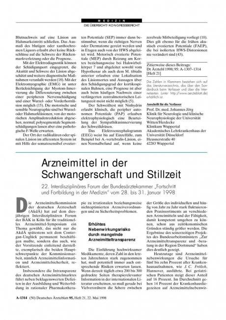 """Arzneimittel in der Schwangerschaft und Stillzeit: 22. Interdisziplinäres Forum der Bundesärztekammer """"Fortschritt und Fortbildung in der Medizin"""" vom 28. bis 31. Januar 1998"""