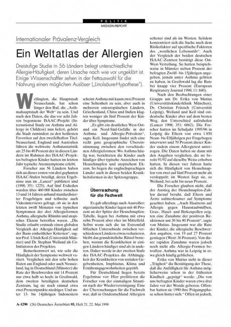 Internationaler Prävalenz-Vergleich: Ein Weltatlas der Allergien