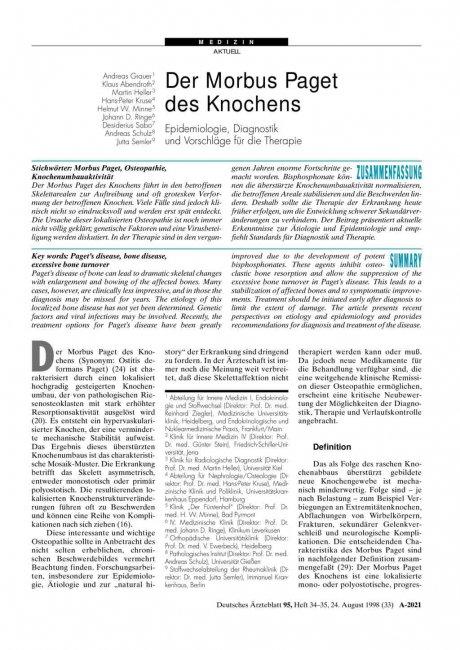 Der Morbus Paget des Knochens: Epidemiologie, Diagnostik und Vorschläge für die Therapie