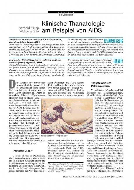 Klinische Thanatologie am Beispiel von AIDS