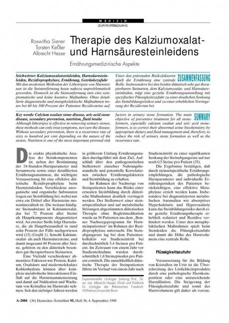 Therapie des Kalziumoxalat- und Harnsäuresteinleidens: Ernährungsmedizinische Aspekte