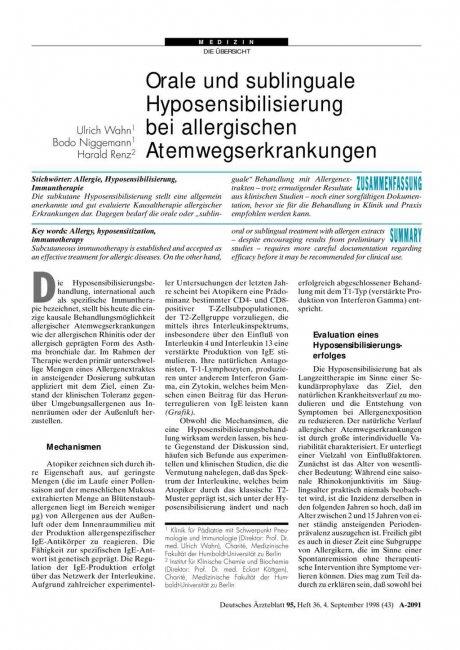 Orale und sublinguale Hyposensibilisierung bei allergischen Atemwegserkrankungen