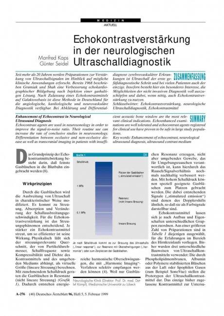 Echokontrastverstärkung in der neurologischen Ultraschalldiagnostik