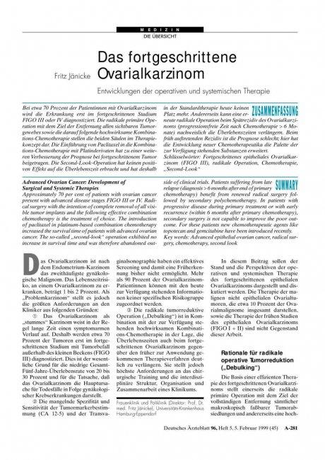 Das fortgeschrittene Ovarialkarzinom: Entwicklungen der operativen und systemischen Therapie