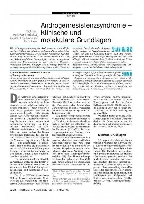 Androgenresistenzsyndrome - Klinische und molekulare Grundlagen
