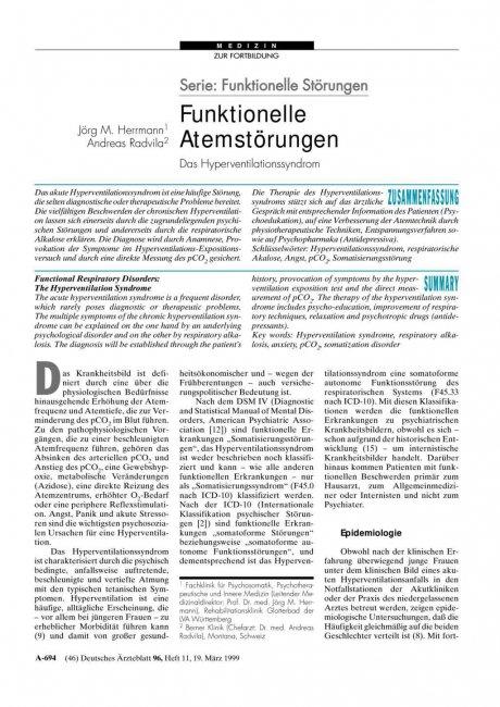 Serie: Funktionelle Störungen – Funktionelle Atemstörungen – Das Hyperventilationssyndrom