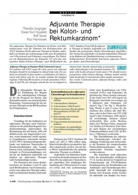 Adjuvante Therapie bei Kolon- und Rektumkarzinom