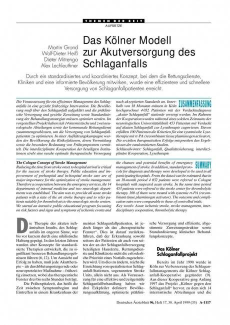 Das Kölner Modell zur Akutversorgung des Schlaganfalls