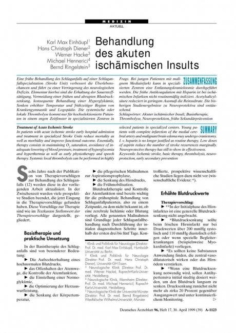 Behandlung des akuten ischämischen Insults