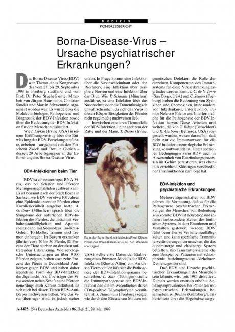 Borna-Disease-Virus - Ursache psychiatrischer Erkrankungen?