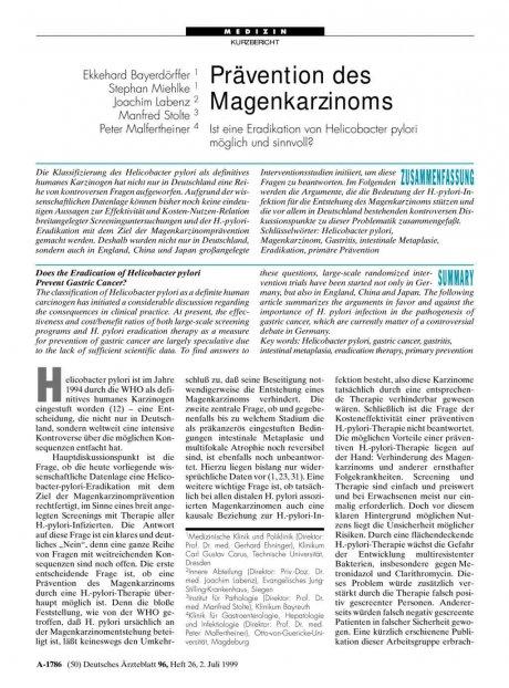 Prävention des Magenkarzinoms: Ist eine Eradikation von Helicobacter pylori möglich und sinnvoll?
