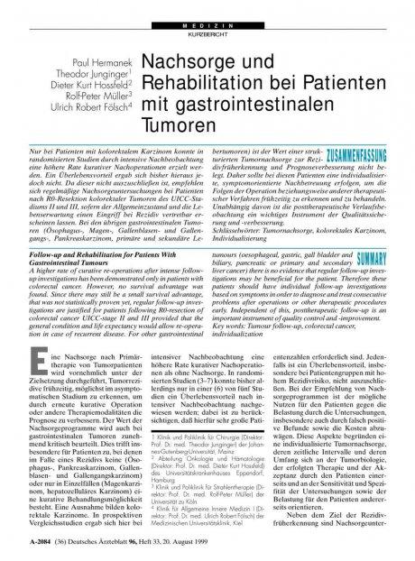 Nachsorge und Rehabilitation bei Patienten mit gastrointestinalen Tumoren