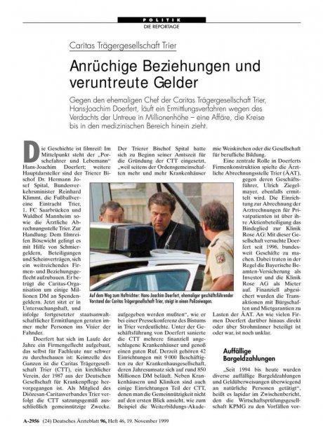 Caritas Trägergesellschaft Trier: Anrüchige Beziehungen und veruntreute Gelder