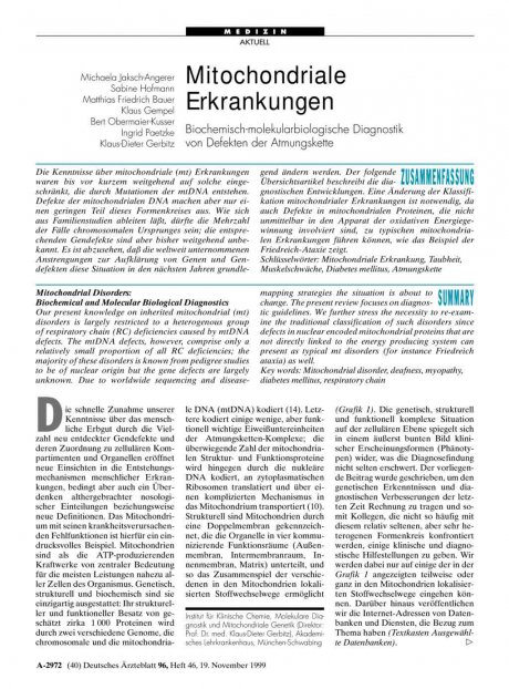 Mitochondriale Erkrankungen: Biochemisch-molekularbiologische Diagnostik von Defekten der Atmungskette