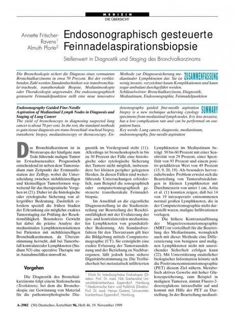 Endosonographisch gesteuerte Feinnadelaspirationsbiopsie: Stellenwert in Diagnostik und Staging des Bronchialkarzinoms