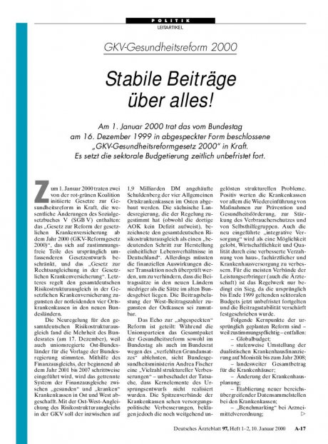 GKV-Gesundheitsreform 2000: Stabile Beiträge über alles!