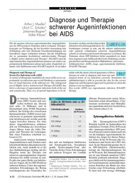 Diagnose und Therapie schwerer Augeninfektionen bei AIDS