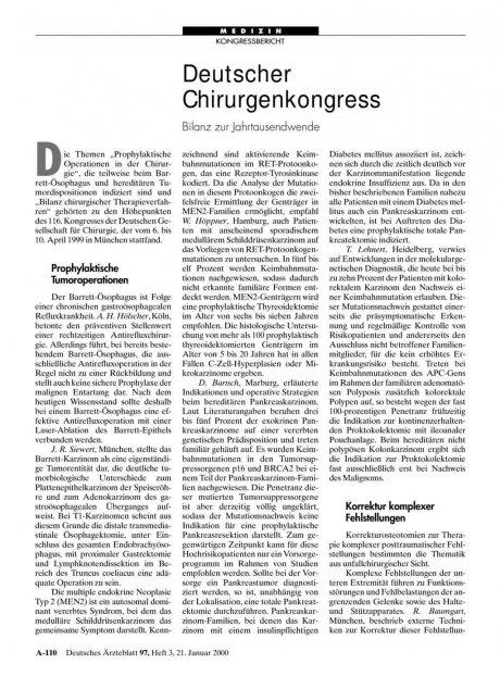Deutscher Chirurgenkongress: Bilanz zur Jahrtausendwende