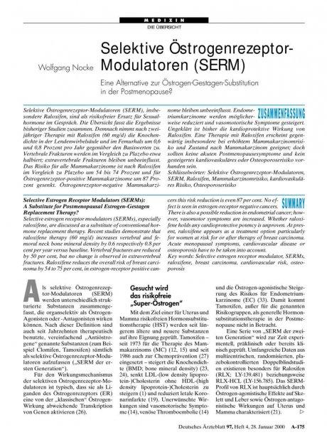 Selektive Östrogenrezeptor-Modulatoren (SERM): Eine Alternative zur Östrogen-Gestagen-Substitution in der Postmenopause?