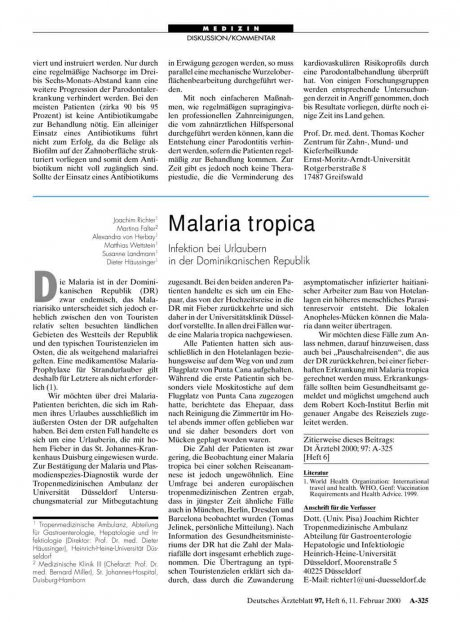 Malaria tropica: Infektion bei Urlaubern in der Dominikanischen Republik