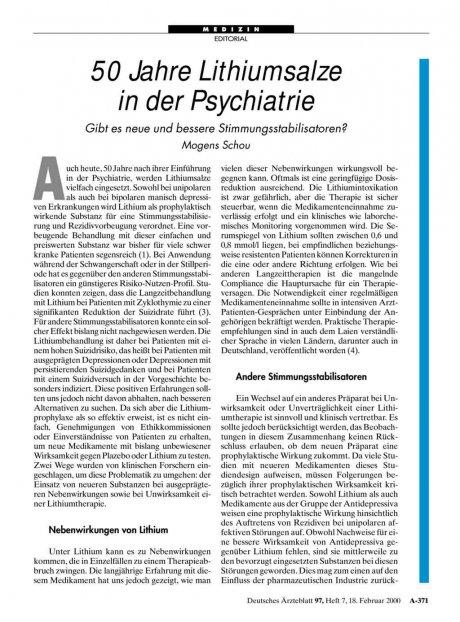 50 Jahre Lithiumsalze in der Psychiatrie: Gibt es neue und bessere Stimmungsstabilisatoren?