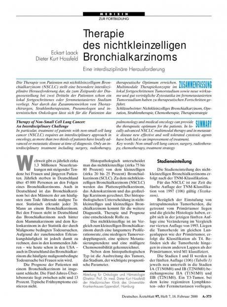Therapie des nichtkleinzelligen Bronchialkarzinoms: Eine interdisziplinäre Herausforderung
