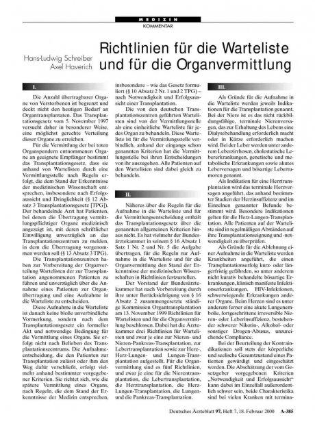 Richtlinien für die Warteliste und für die Organvermittlung