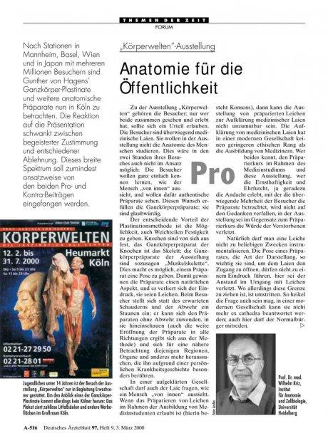 """""""Körperwelten""""-Ausstellung: Anatomie für die Öffentlichkeit"""