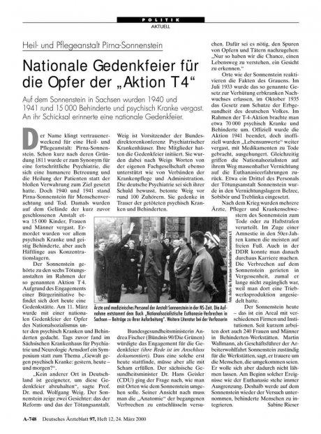 """Heil- und Pflegeanstalt Pirna-Sonnenstein: Nationale Gedenkfeier für die Opfer der """"Aktion T 4"""""""