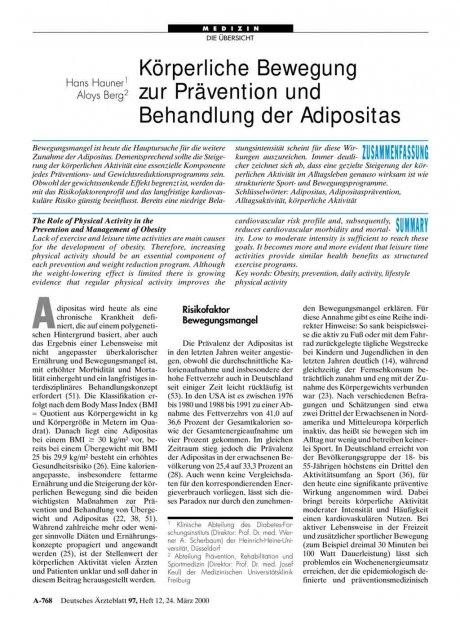 Körperliche Bewegung zur Prävention und Behandlung der Adipositas