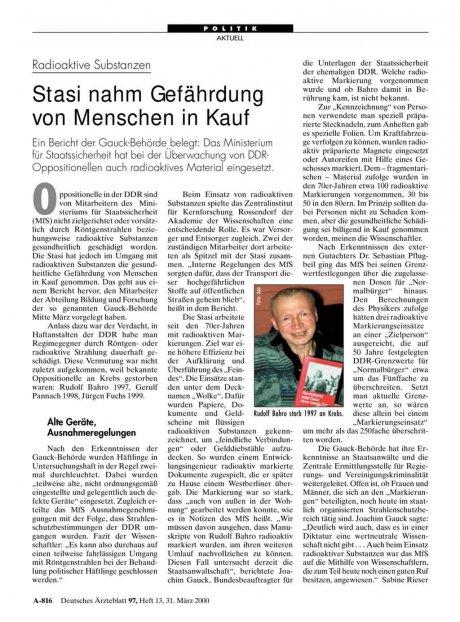 Radioaktive Substanzen: Stasi nahm Gefährdung von Menschen in Kauf