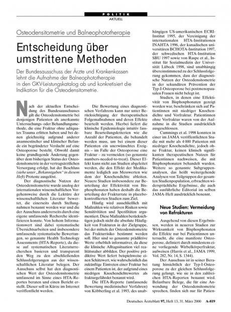Osteodensitometrie und Balneophototherapie: Entscheidung über umstrittene Methoden