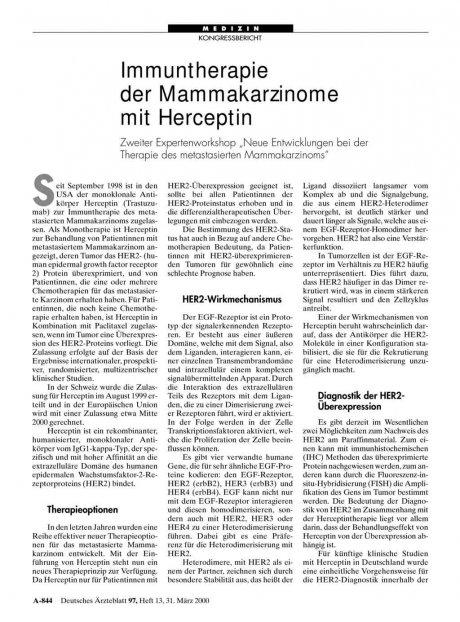 """Immuntherapie der Mammakarzinome mit Herceptin: Zweiter Expertenworkshop """"Neue Entwicklungen bei der Therapie des metastasierten Mammakarzinoms"""""""