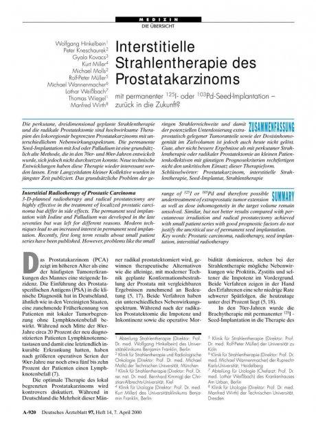 Interstitielle Strahlentherapie des Prostatakarzinoms mit permanenter 125I- oder 103Pd-Seed-Implantation - zurück in die Zukunft?