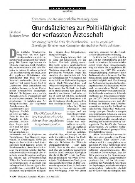 Kammern und Kassenärztliche Vereinigungen: Grundsätzliches zur Politikfähigkeit der verfassten Ärzteschaft