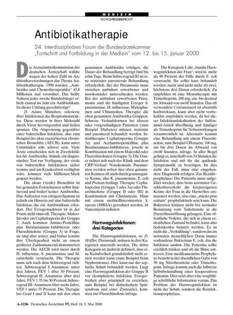 """Antibiotikatherapie: 24. Interdisziplinäres Forum der Bundesärztekammer """"Fortschritt und Fortbildung in der Medizin"""" vom 12. bis 15. Januar 2000"""