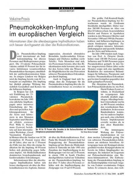 Vakzine-Praxis: Pneumokokken-Impfung im europäischen Vergleich